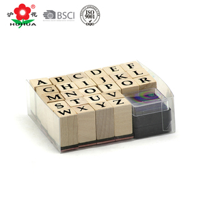 mini wooden stamps PVC box packed alphabet stamp set