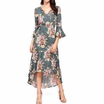2018 floral printed women dresses ,asymmetrical summer floral maxi dress