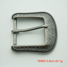 38mm metal western pin belt buckle with engraved design