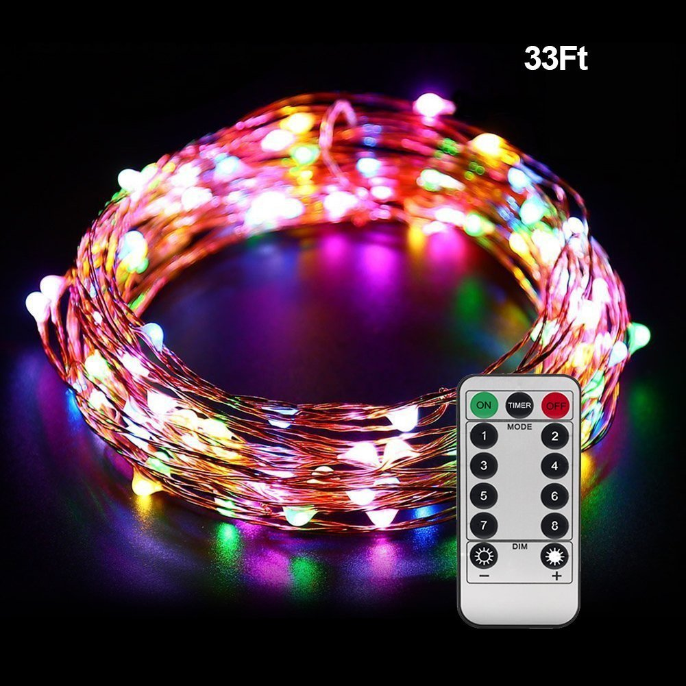 ofun battery operated starry string lights 33ft 100 led 8 modes dimmable starlit christmas lights