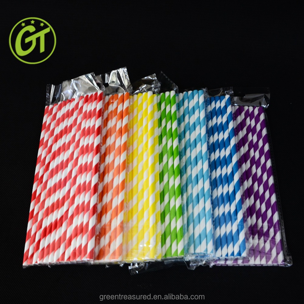 cheap drinking plastic straw, assorted color packing straws individual paper wrapping straw