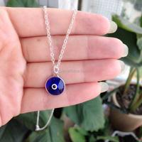 Evil Eye Necklace 1cm Glaze Dark Blue Pendant Turkish Jewelry Turkey Charm Nazar