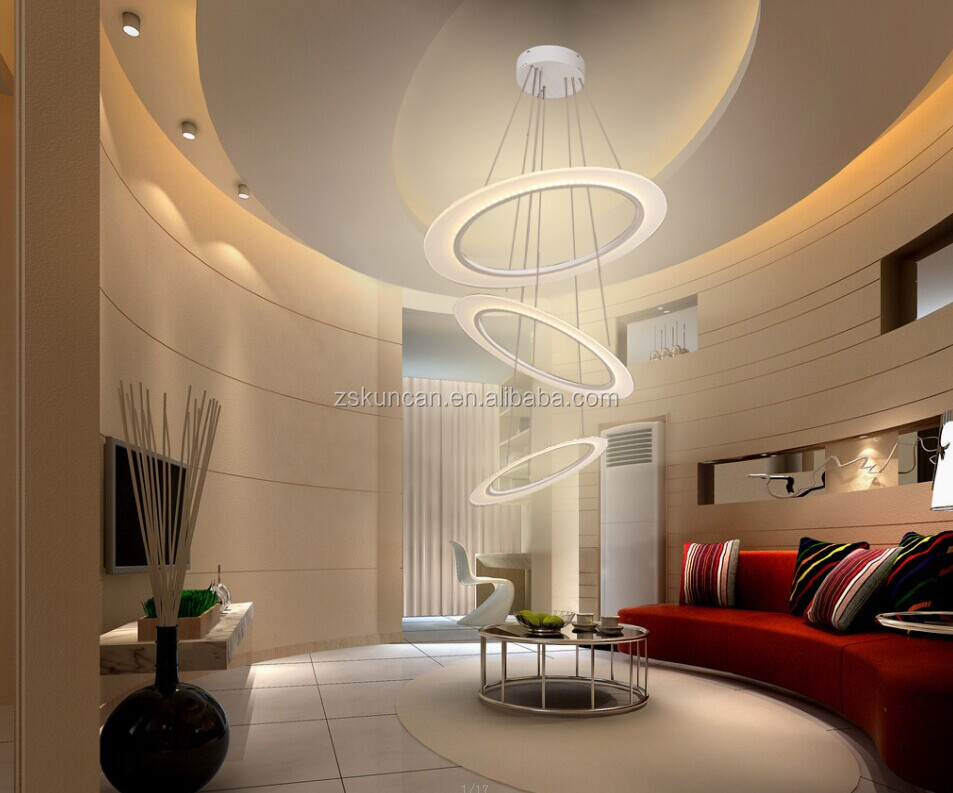 Three Circle LED Suspension Pendant Lights Luxury Dining Room Chandelier