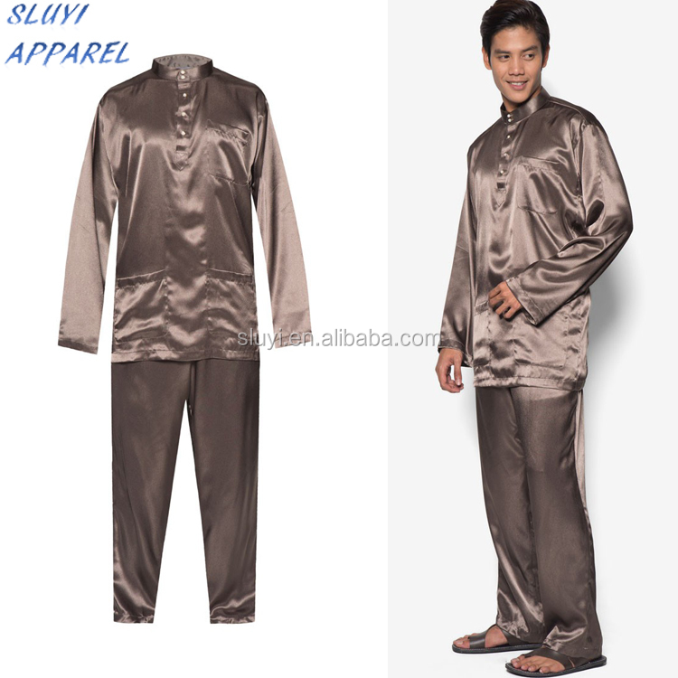 Melayu Suit for muslim mens Summer style sexy night wear for men Plus size mens Spring and Summer silk satin sleep wear
