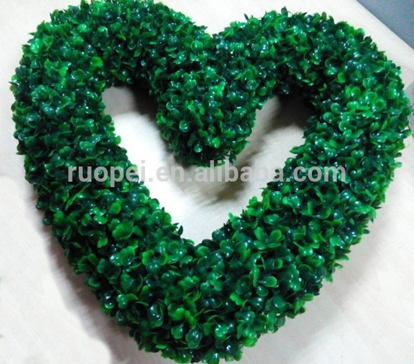 40CM Plastic Heart Shaped Wreath artificial milan green leaves for wedding and festivals decor