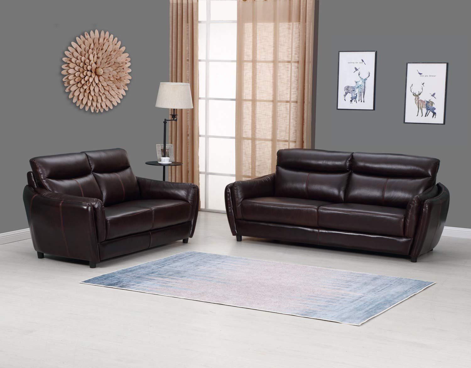 """Blackjack Furniture 9778-BROWN-2PC Troy Classic Top Grain Leather Living Room Sofa and Loveseat Set, 82"""", Brown"""