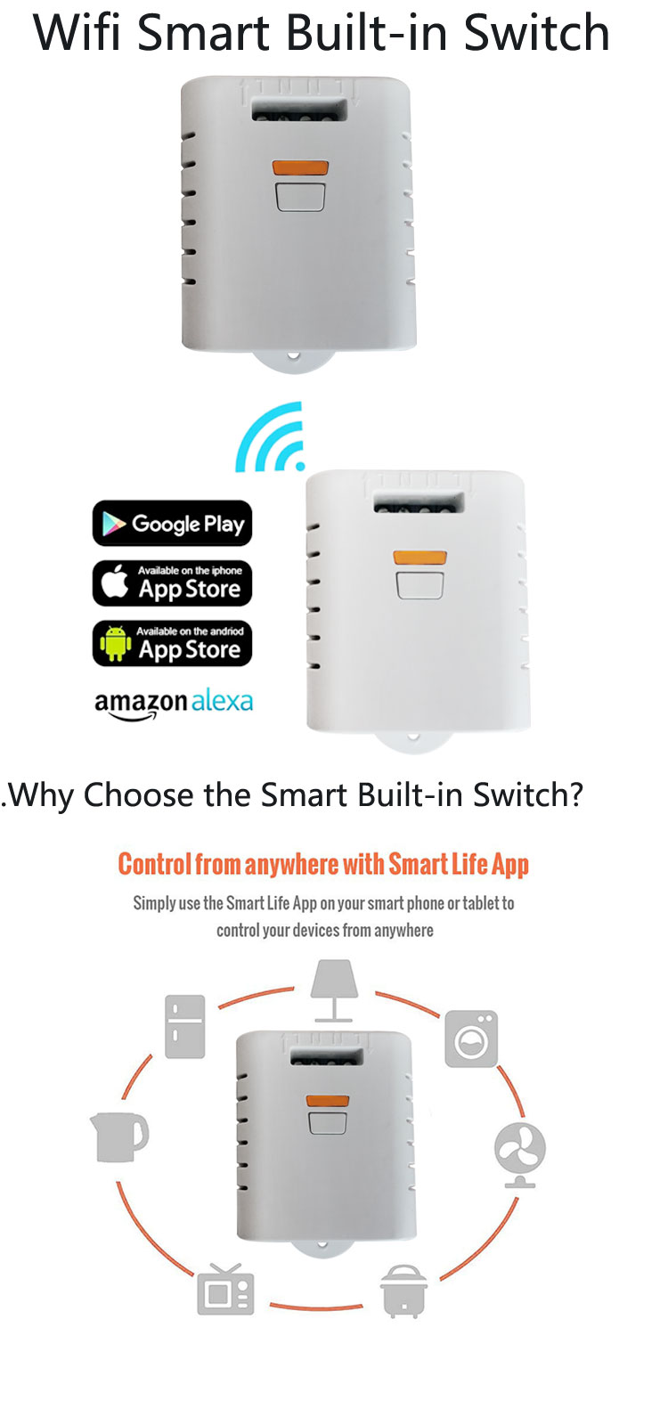 smart home app wifi led relay switch controller 220v 10A switch smart automation