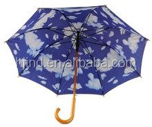 Blue sky with clouds printed on under layer of umbrella wooden double layer umbrella