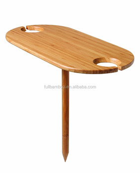 Outdoor Wine Bamboo Table In Ground Gl Holder Picnic