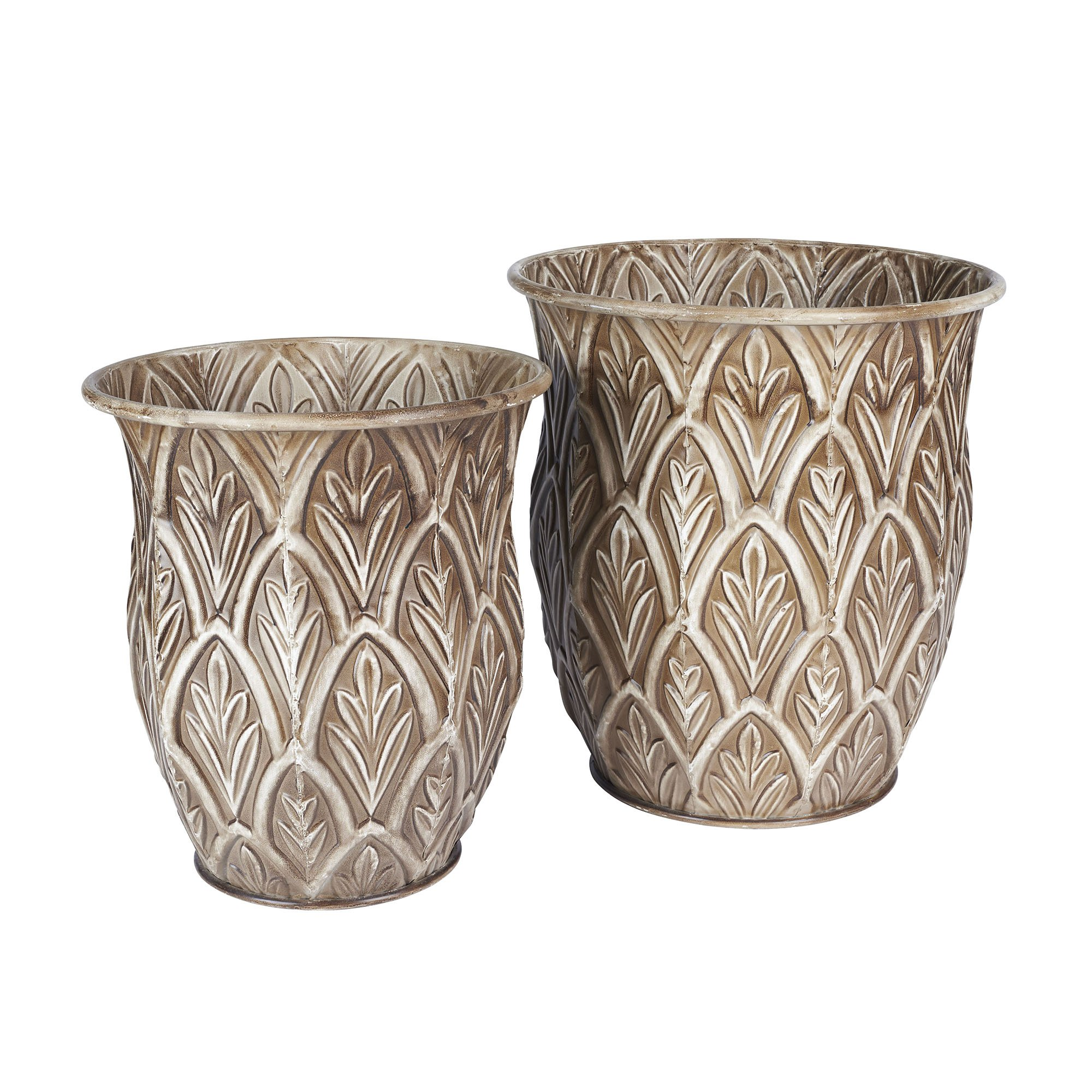 Get quotations · household essentials etched decorative tall floor vase set of 2 leaf pattern