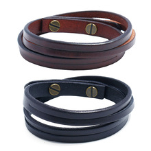 Laser 컷 <span class=keywords><strong>가죽</strong></span> bracelet 두 번 band real leather bracelets