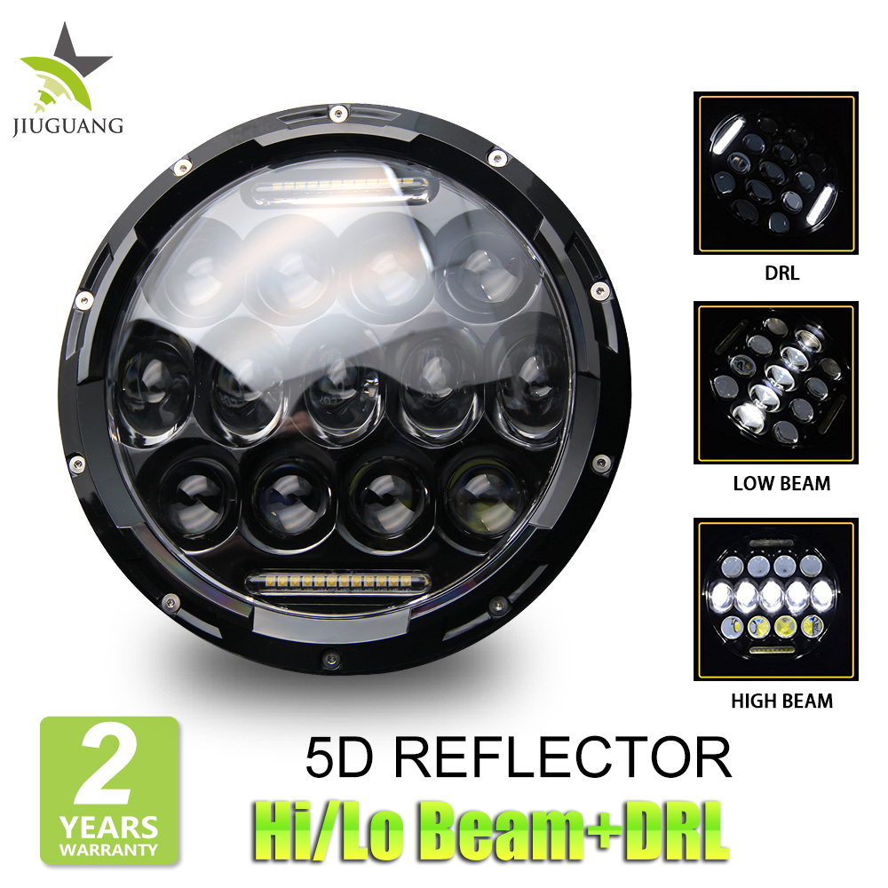 Super Bright 12Volt H4 Led Motorcycle Car Headlight, Dot Round 25W 75W 7Inch Led Headlight For Jeep