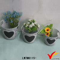 vintage french lettuce seed tin bucket with heart chalk