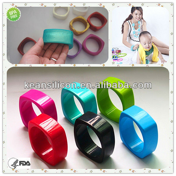 BPA Free Silicone Rubber Products/FDA Passed Fashion Baby Nursing Jewelry Teething Bangle Wholesale