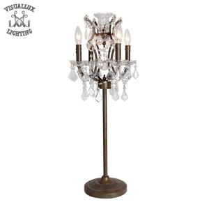 T2081-4 antique rustic iron and clear crystal 50% iron 50% crystal lamp table decorate fancy table lamp