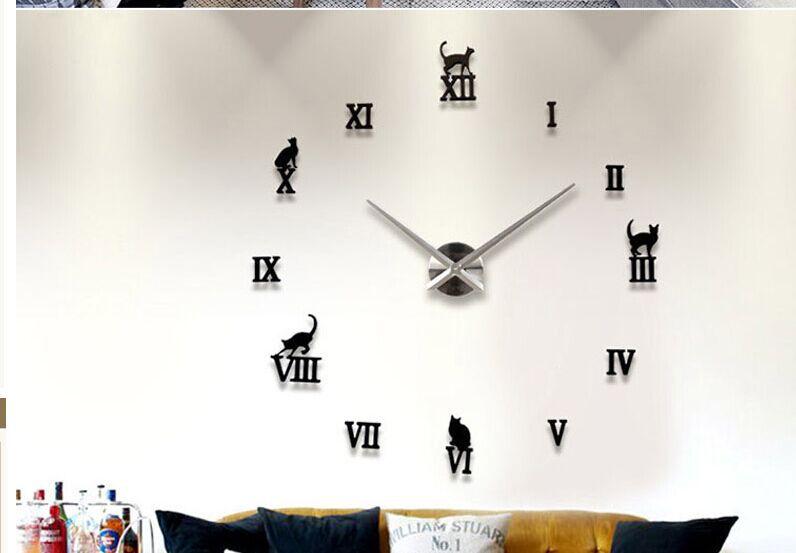 Nomor Roman Desain Fashion Besar Jam Dinding Dekorasi Rumah Diy Jam ... 81187a1399