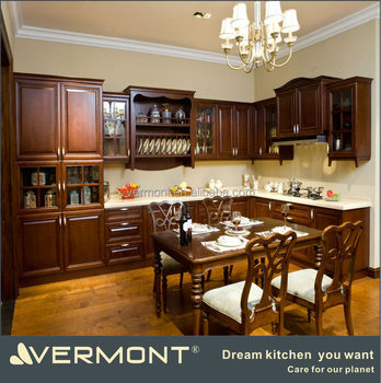 Crown Molding Raised Panel Frame-less Solid Wood Kitchen Cabinets ...