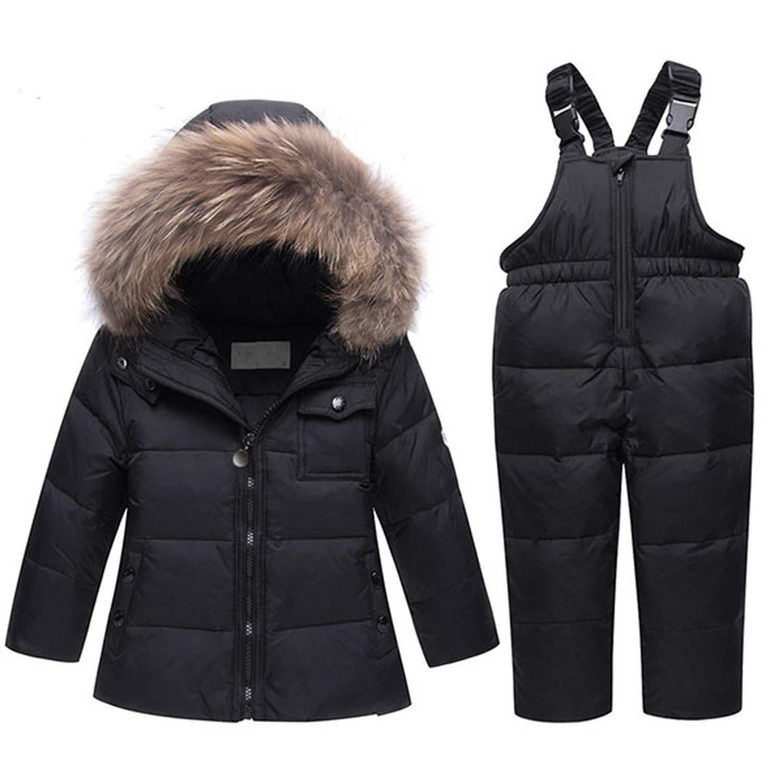 a2a646ec7198 Get Quotations · Mandaartins Winter Baby Boys Girls Duck Down Snowsuits  Jacket Children Fur Parkas Ski Set