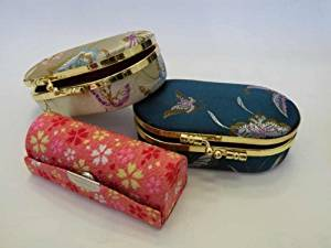 """Promotion-Lipstick Case,Lipstick Holders 3pcs/Set Elegant Satin Silky Fabric Cases w/Mirror. Assorted Gorgeous Designs ,Each 3pcs/Set Pack With FREE Fashion Design Satin Pouch or Gift Bag(Assorted Colors) Standard Size 3 1/2""""L x 1 1/4""""W , Super Value,Good for Birthday Gifts and Christmas"""