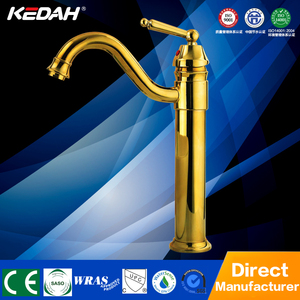 European style single handle gold basin tap