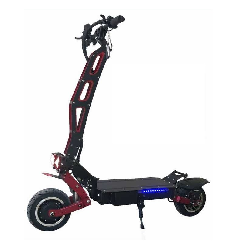 New hot sale one purchase accept powerful fast 60V 5600W foldable dual motor electric scooter for adult, Black and red