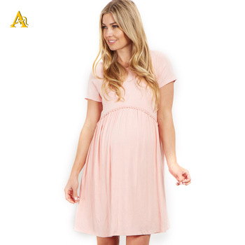 China Manufacturer Dongguan High Quality Sweet Pink Maternity Dresses Wholesale Pregnancy Clothes