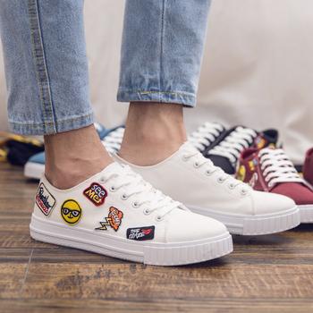 high quality newest fashion emoji shoes emoji whataspp casual white canvas  shoe