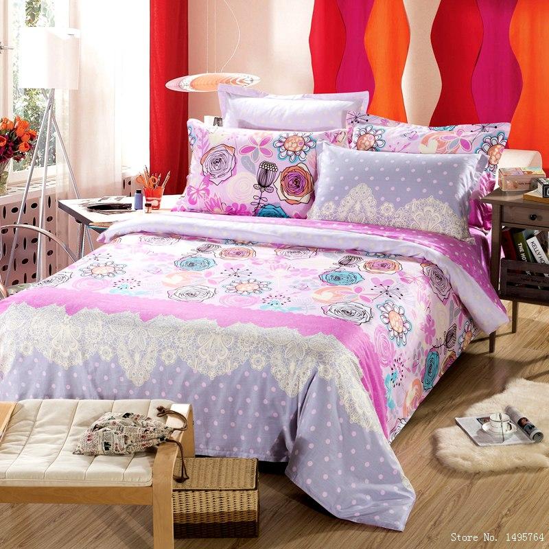 2015 new 100 cotton queen size pink flower boho bedding parure de lit home sets bed linen. Black Bedroom Furniture Sets. Home Design Ideas