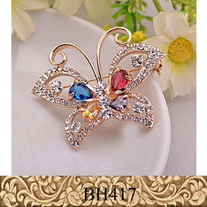 Fancylove Jewelry high quality real gold plating butterfly brooch zircon CZ crystal stone colorful brooch