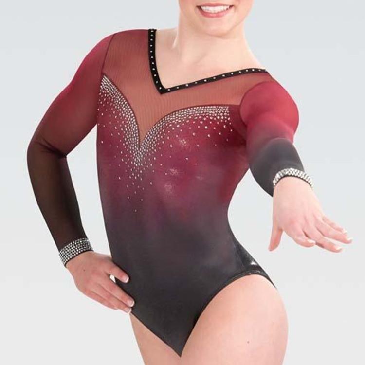Custom Made Long Sleeve Leotard For Girls Gymnastics