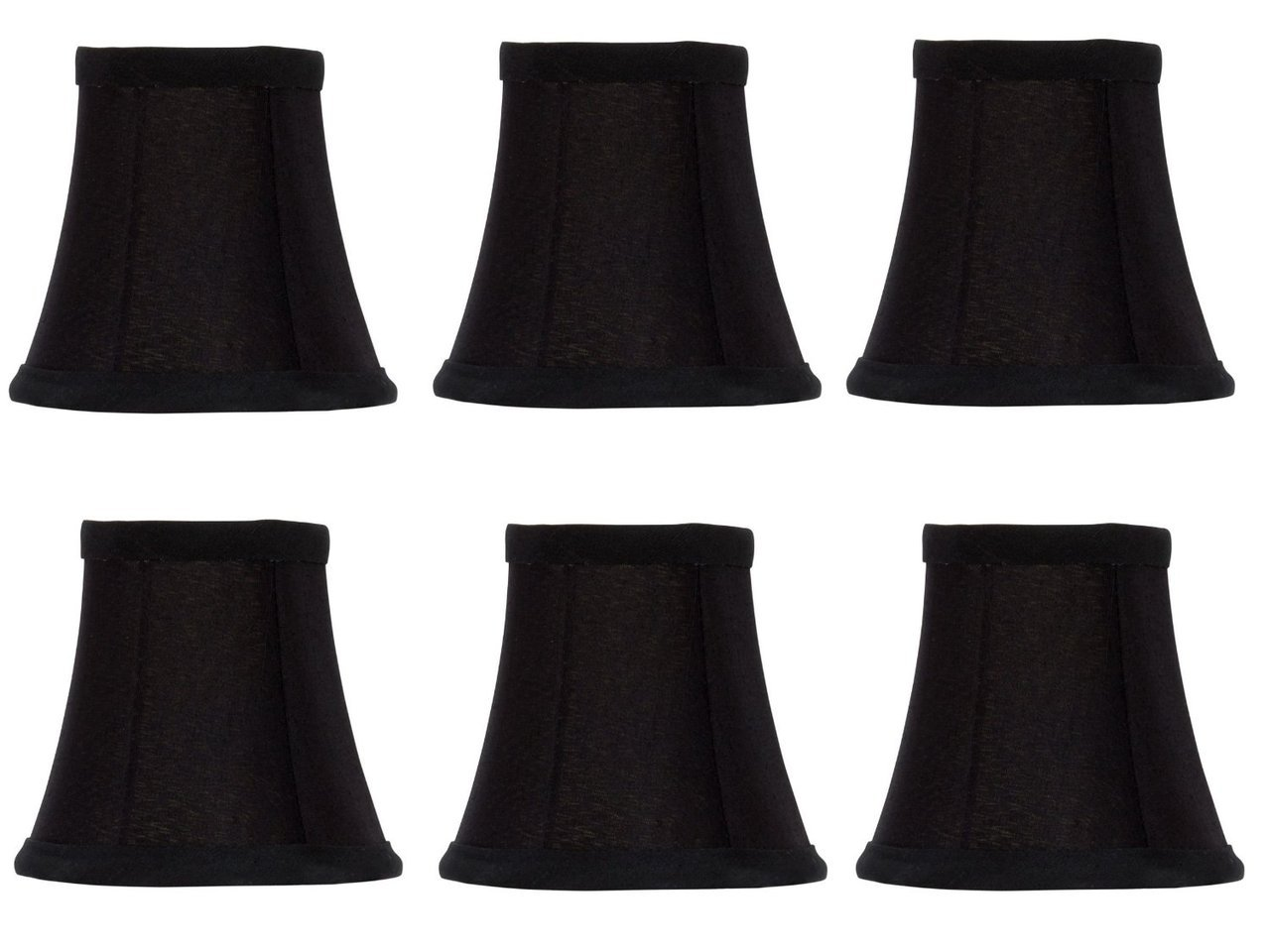 Upgradelights Set of Six Black Silk with Gold Lining Bell Shade Chandelier Lamp Shade Mini Clip on Shade 4''