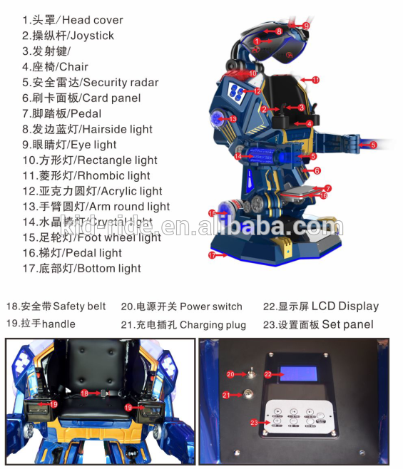 Amusement Rides Walking Iron Man Kids Robot Ride with Music and Laser Fighting Mode for Sale