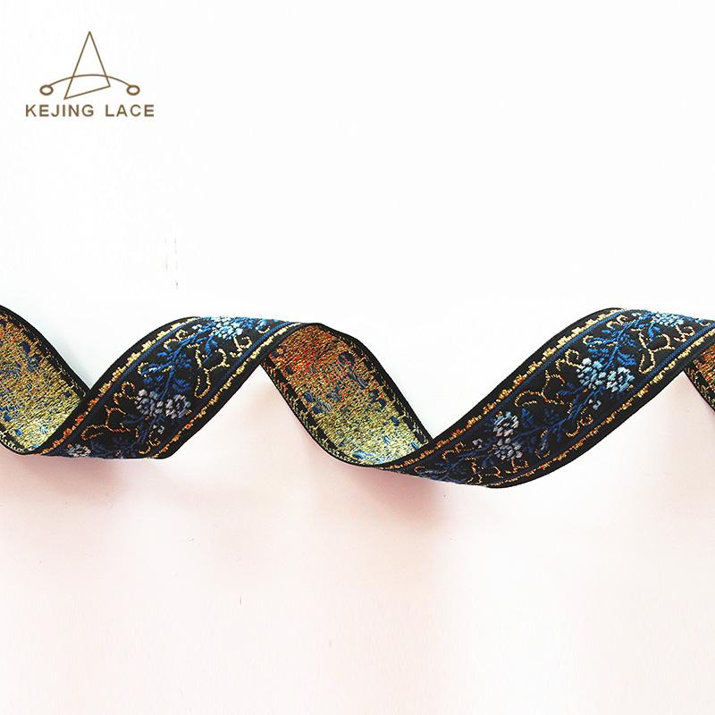 Fancy Customized Metallic Woven Jacquard Ribbon Flower Ribbon Lace Trim
