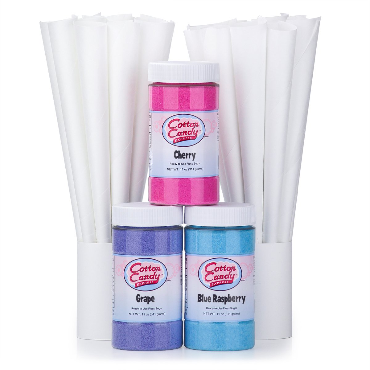 Cotton Candy Express Fun Pack | Kit Features Cherry, Blue Raspberry & Grape Floss Sugars (11 oz Each) & 50 Paper Cones | Best Cotton Candy Maker Supplies | For Home or Commercial Use
