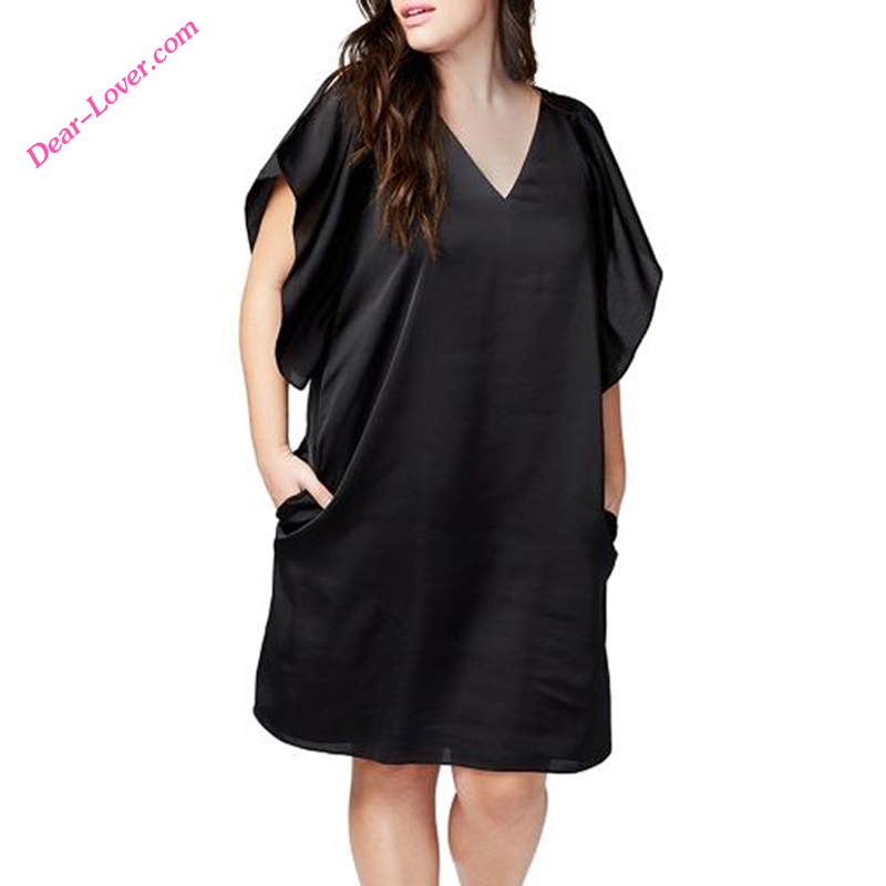 V neck short sleeve loose fit casual plus size lady dress