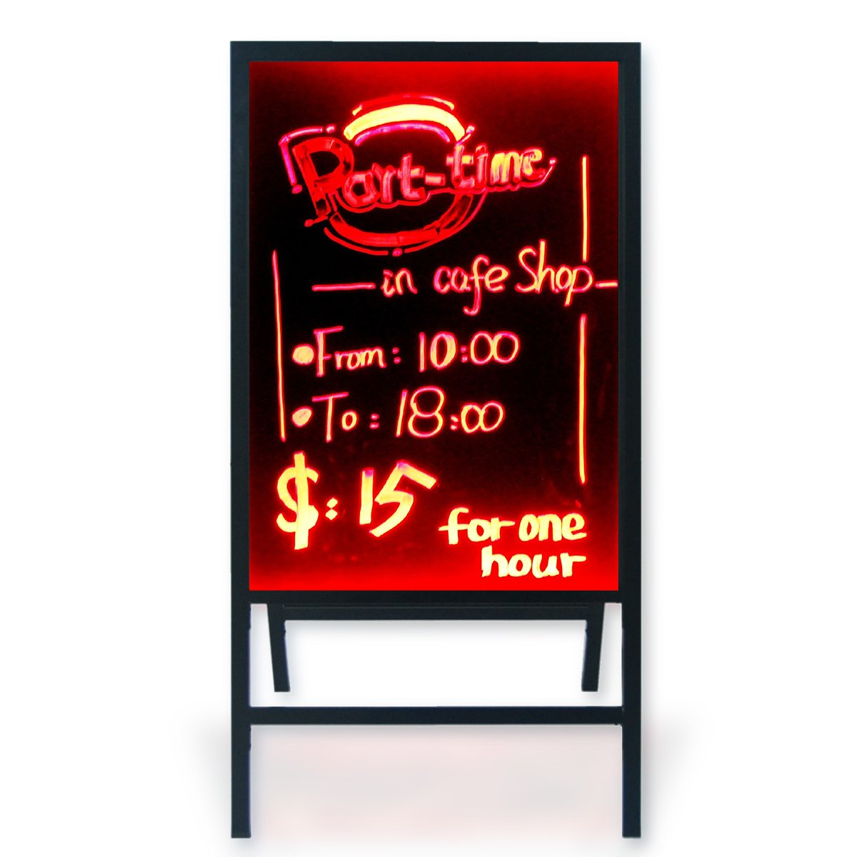 """Woodsam 28""""x 20"""" Large A-frame LED Reversible Glass&Chalk Message Writing Menu Chalk Board Standing Sign/Chalkboard Easel/Sandwich Board Sidewalk Sign with Stand for Business Display/Wedding Decor"""