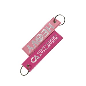 Factory Direct Price Clothes Textile Customized Brand Air Twill Embroidery Key Holder Keychains for multiple keys