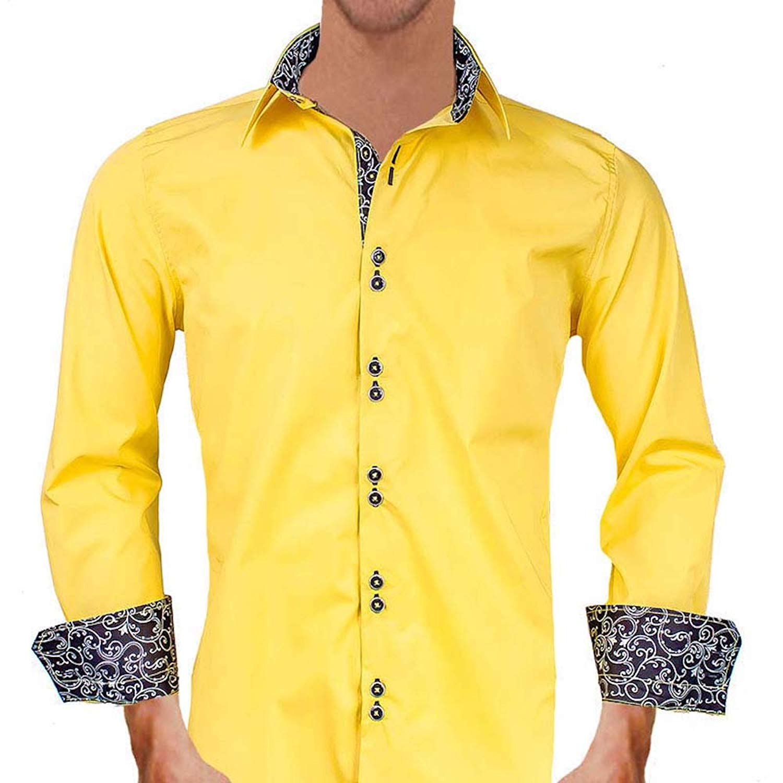 Buy Bright Yellow With Black Metallic Designer Dress Shirts Made