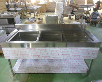 Stainless Steel Double Sink Inox Sink Table With Bottom Shelf And Drain  Board