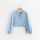 Autumn Fashion Shirt V-neck Irregular Long-Sleeve Denim Top Knotted Casual Womens Blouse