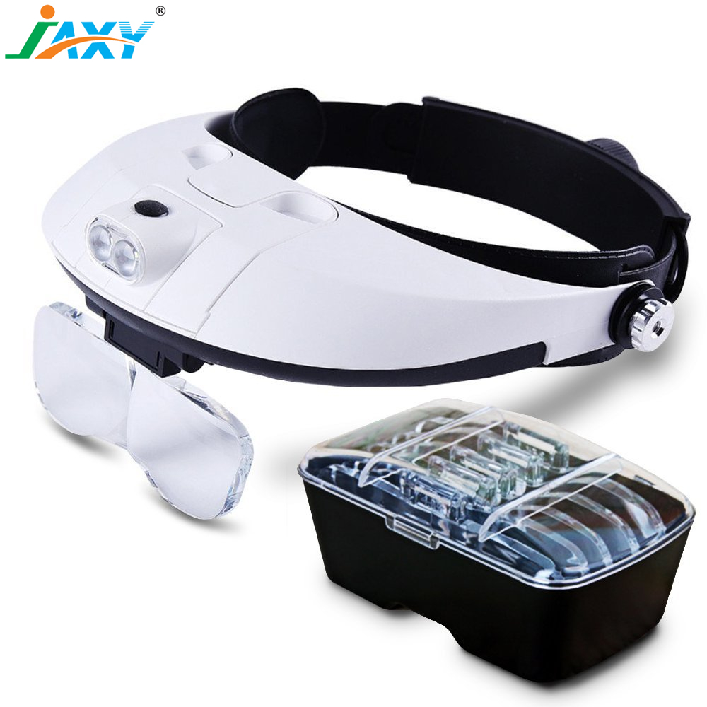 Jaxy 2017 newest 1X1.5X2X2.5X3X3.5X adjustable headset helmet dental medical magnifying glasses loupe magnifier with 2 LED light