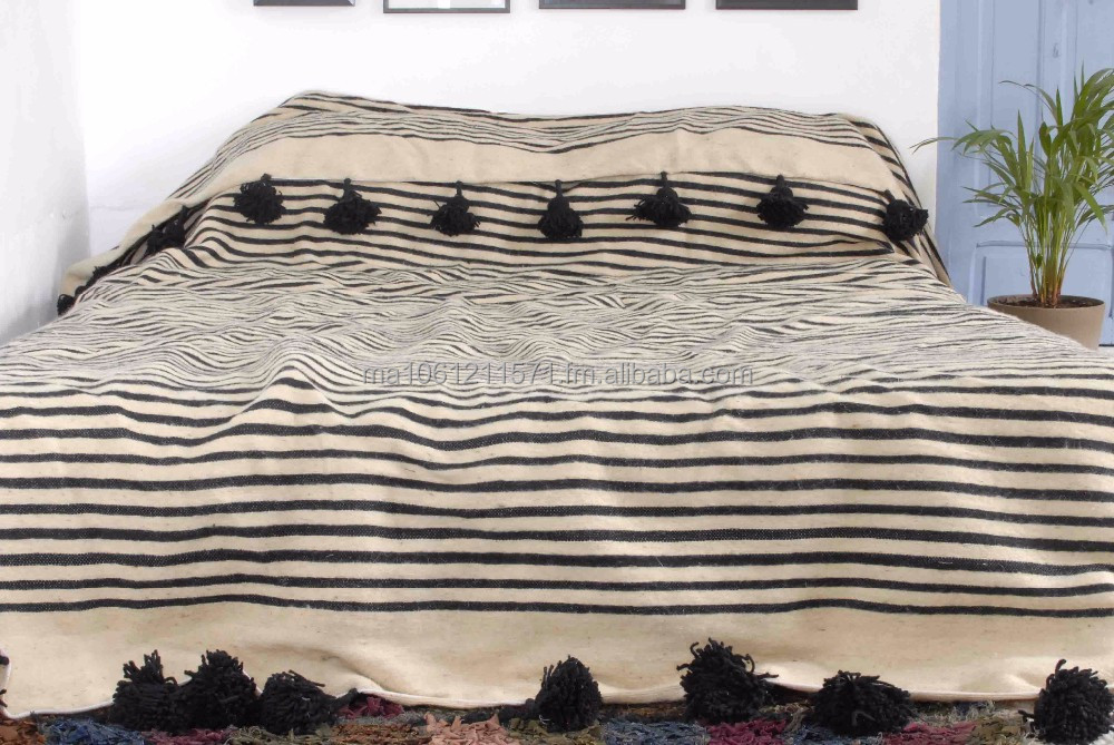Wonderful Moroccan Pom Pom Blanket,Bedspread,Throw,Rug,100% Pure Wool  IZ64