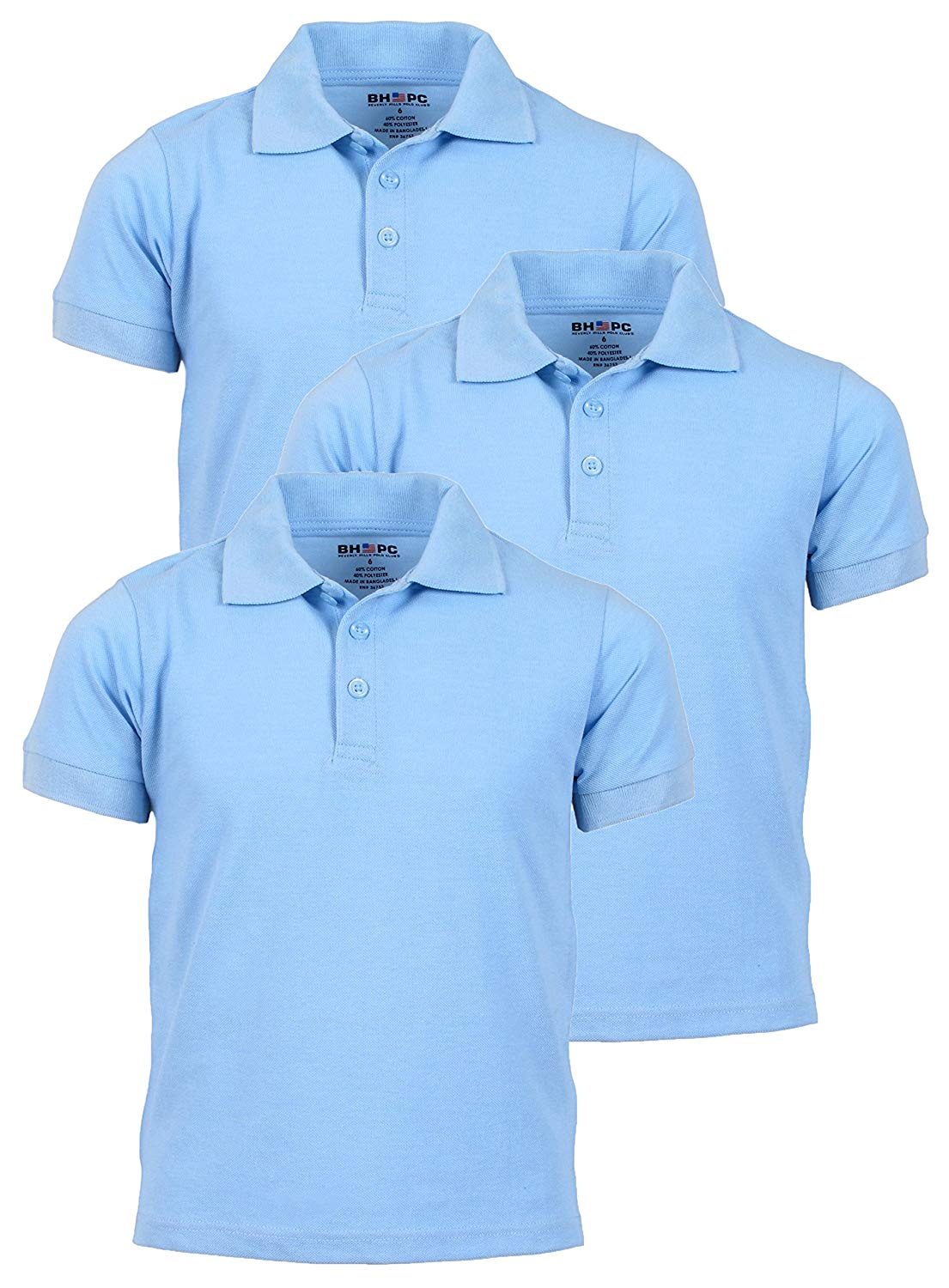df2953025 Beverly Hills Polo Club Pique Polo Uniform Short Sleeve Shirts - Boys 3PK