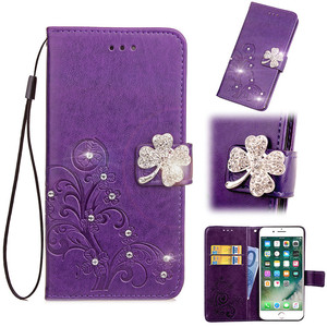 IKFCASE Diamond PU Leather Embossed Lucky Leaf Clover Flower Wallet Phone Case for Samsung Galaxy S9