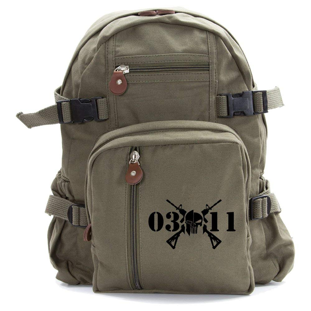 Infantry 0311 Punisher Skull Heavyweight Canvas Backpack Bag, Olive Small