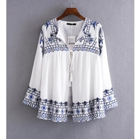 MS60256L latest design embroidered blouse ladies fashion clothing