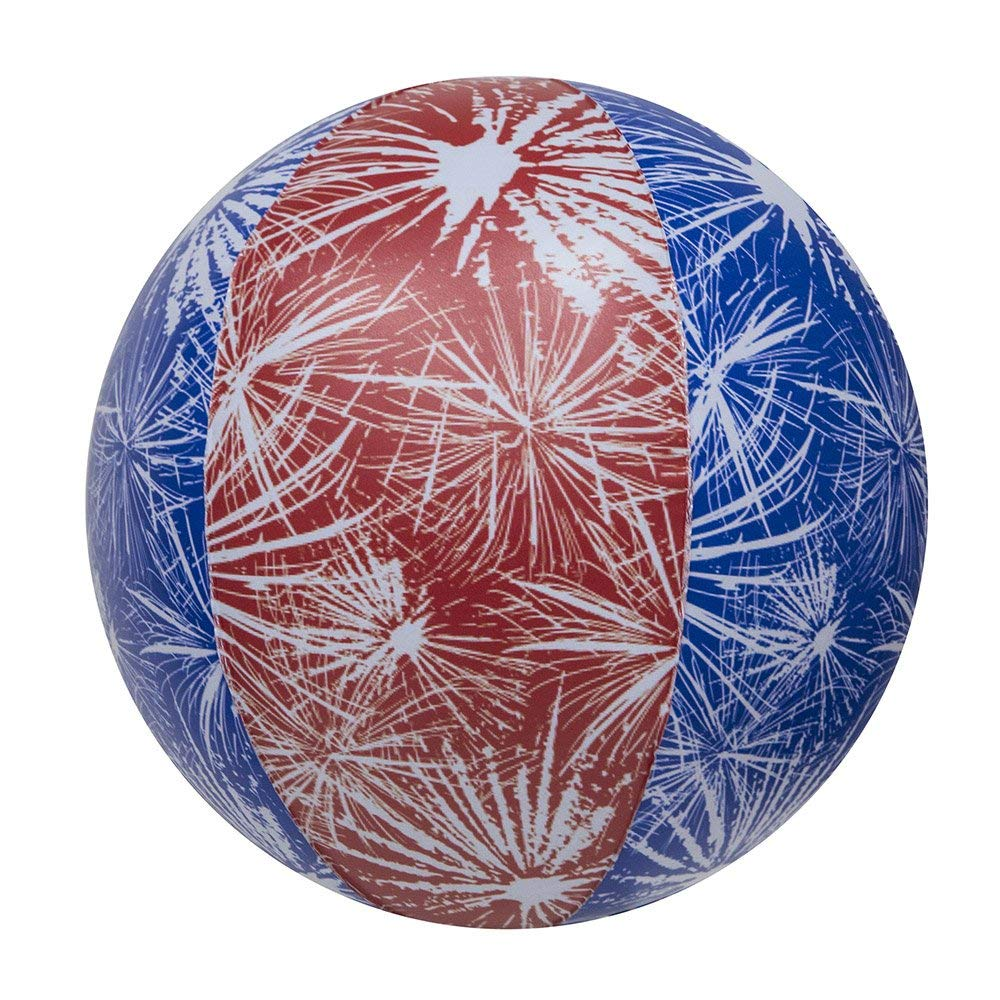 Impact Activated Light-Up Beach Ball with Fireworks Design - 14in diameter