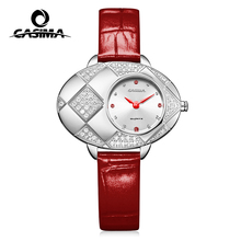 Leather strap two hands japanese quartz movement diamond case 5 atm water resistant bracelet wrist watch for ladies