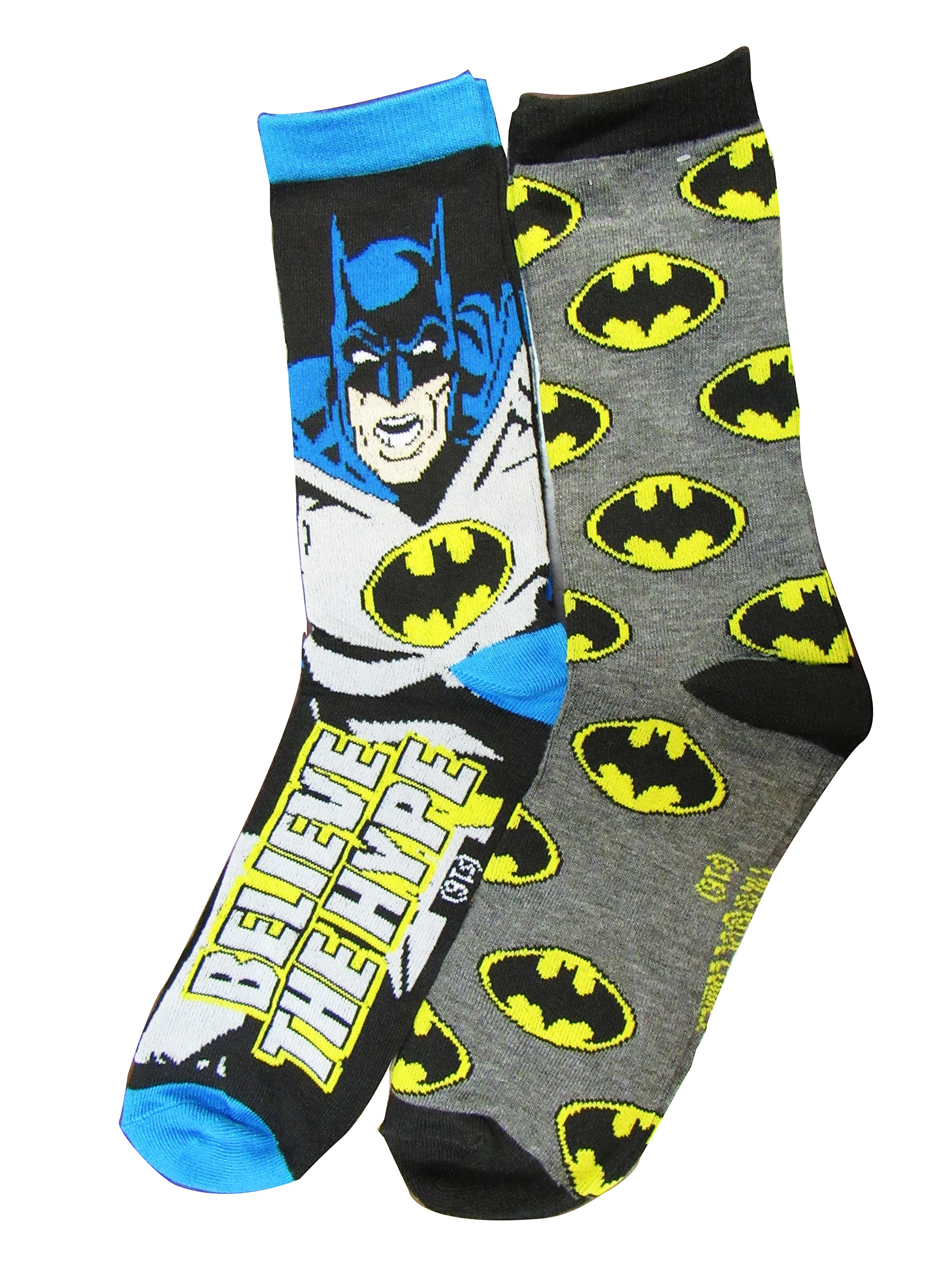 4d9423a7480b Get Quotations · DC Batman Dont Believe the Hype Licensed Mens 2 Pack Crew  Socks