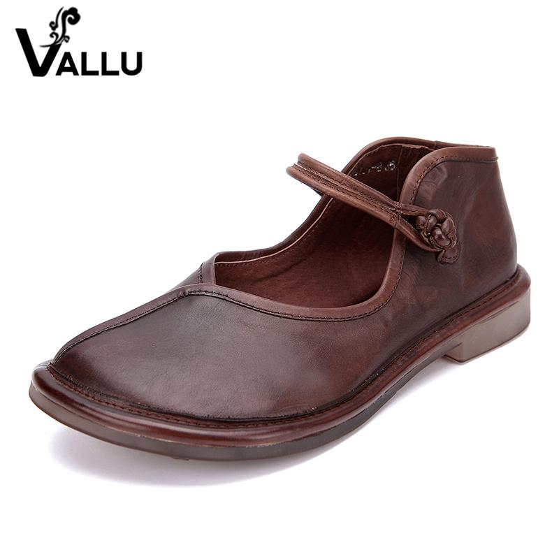 Handmade Vintage Strap Casual Flat Shoes Women Genuine Leather Buckle Heel rrnxdfSq